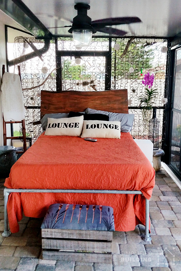47 diy bed frame ideas built with pipe simplified building this bed frame was built by anthony and his grilfirend in cape coral florida anthonys girlfriend wanted an outdoor bed for her lanai porch solutioingenieria Choice Image