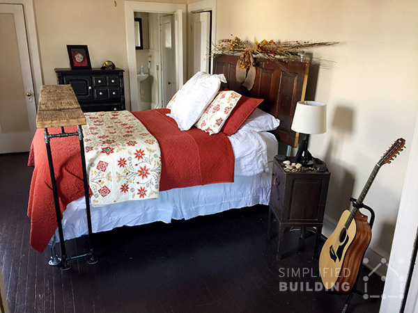 47 diy bed frame ideas built with pipe simplified building the above bed frame was built by tim from sewickley pa tim put together this awesome rustic bed frame which features a bed table built with reclaimed wood solutioingenieria Choice Image
