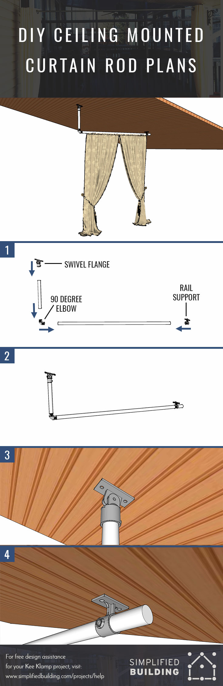 DIY Ceiling Mounted Curtain Rod Plans