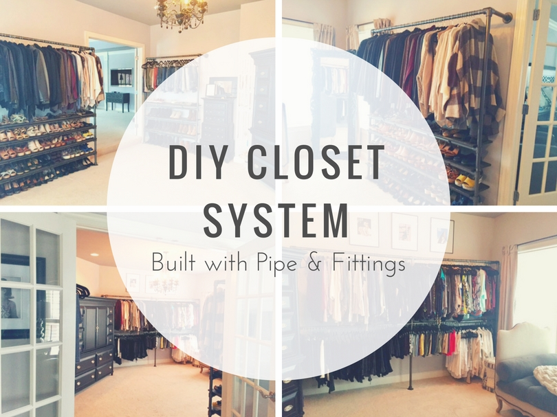 Diy closet system built with pipe fittings plans for How to build a walk in closet step by step
