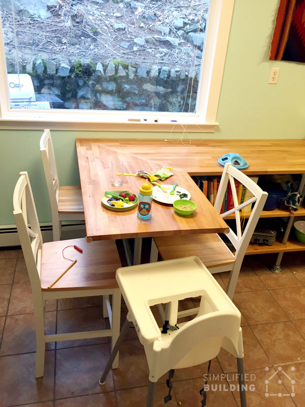 Butcher Block Kitchen Table with Shelf