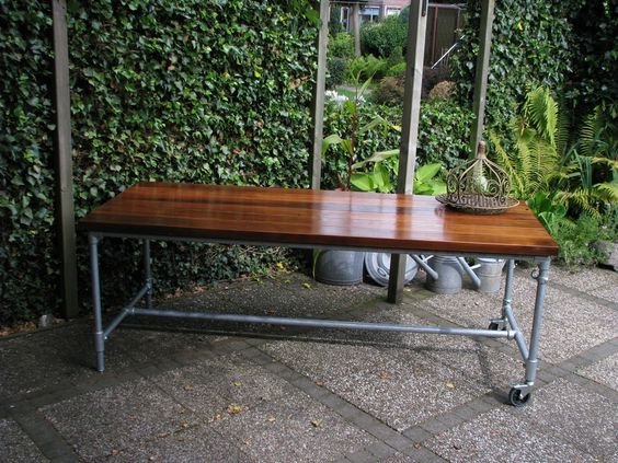 Dark Brown Wood Table Top Patio Table