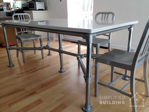 51 diy table ideas built with pipe simplified building for Quartz top dining table