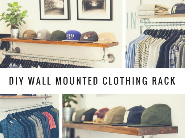 DIY Wall Mounted Clothing Rack with Top Shelf