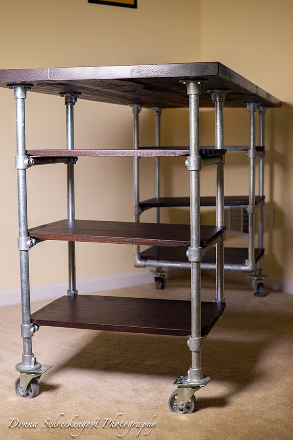 Industrial Pipe Desk with Shelving