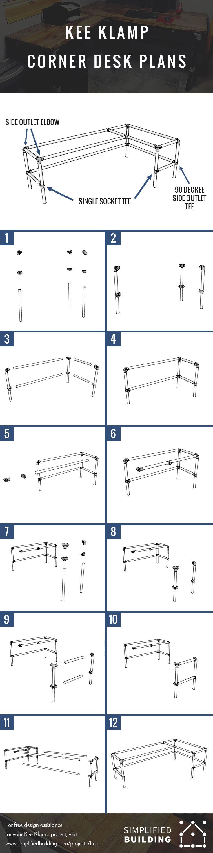 Diy laminate flooring table top desk simplified building - Corner computer desk design plans ...