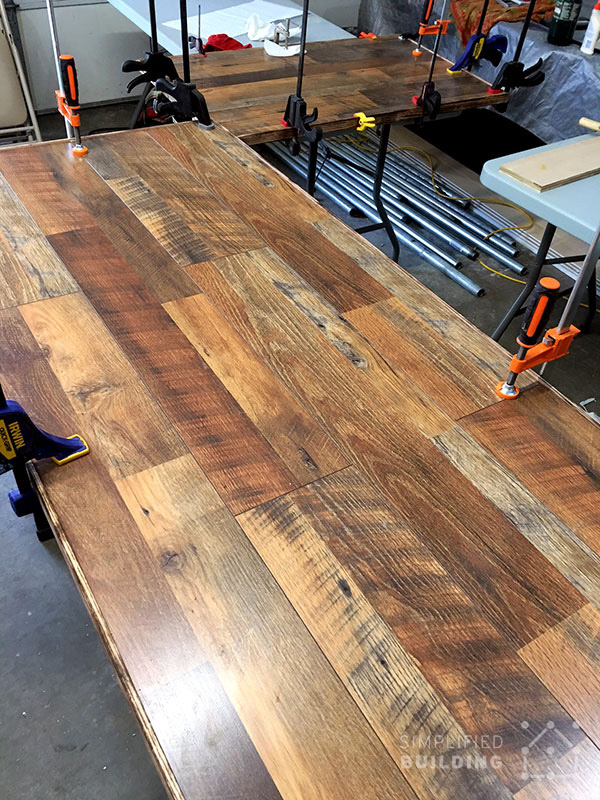 Diy laminate flooring table top desk simplified building hardwood flooring table top solutioingenieria Gallery