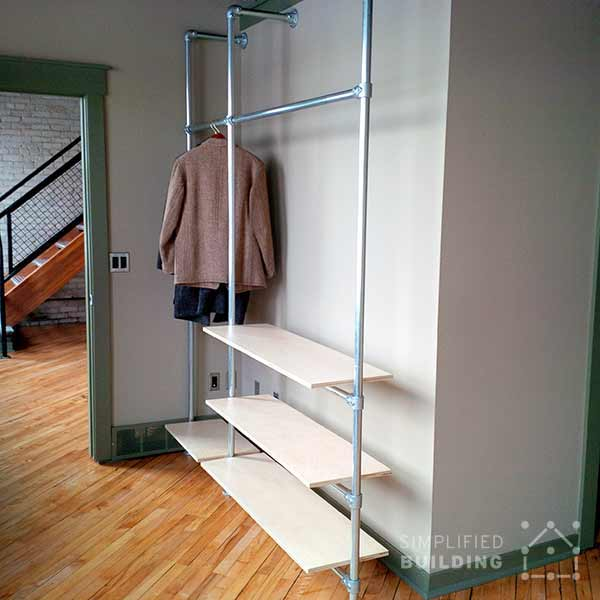 Modern Coat Rack with Floating Shelves