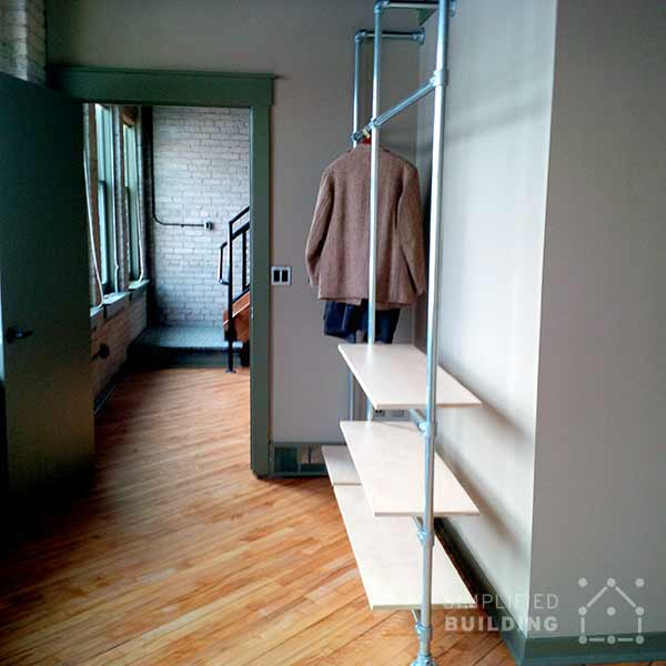 modern coat rack with floating shelves - Modern Coat Rack