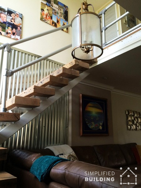 Modern Railing For A Rustic Home Stairway Remodel. Modern Stair Railing