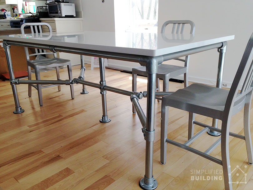 DIY Quartz Dining Table Built with Pipe and Kee Klamp  : quartz top dining table 001 from www.simplifiedbuilding.com size 810 x 608 jpeg 104kB