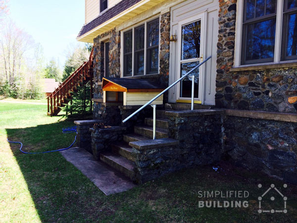 Railing for Stone Front Porch - Side View