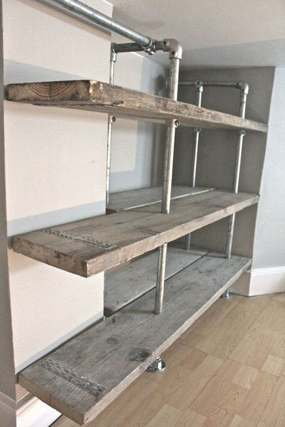 59 diy shelf ideas built with industrial pipe simplified building. Black Bedroom Furniture Sets. Home Design Ideas