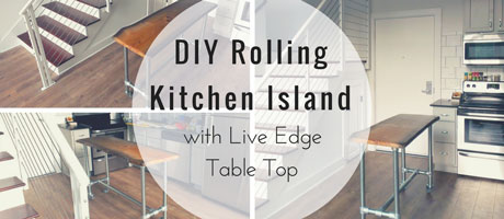 DIY Rolling Kitchen Island with Live Edge Table Top Image