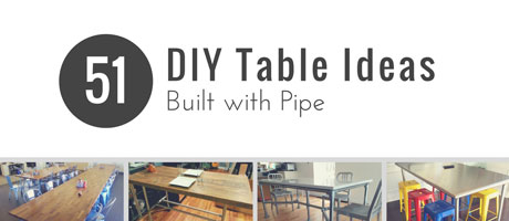 51 DIY Table Ideas Built with Pipe Image
