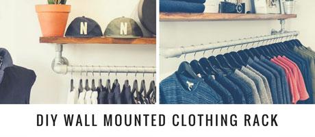 DIY Wall Mounted Clothing Rack with Top Shelf Image