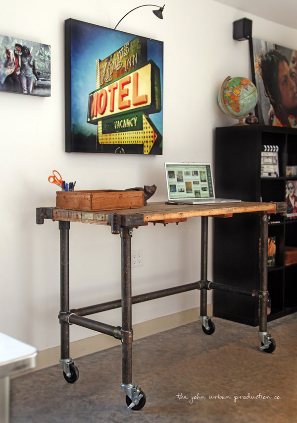 Rolling Pipe Desk with Antiqued Metal