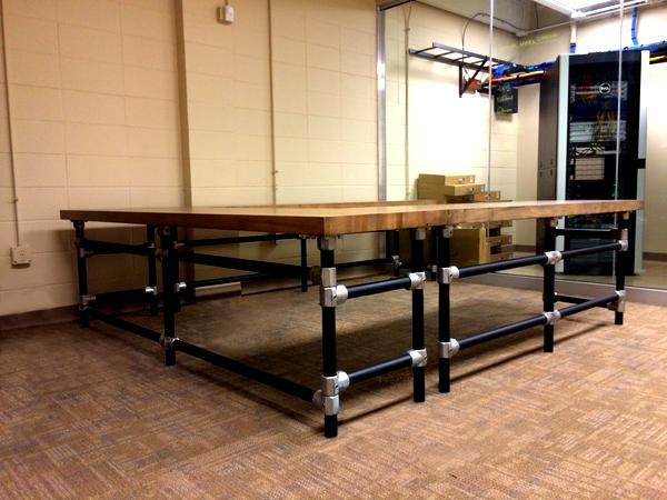 Massive U-Shaped Butcher Block IT Work Bench