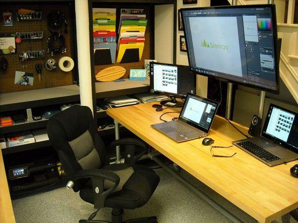 Dual Pole Mounted Monitor Desk
