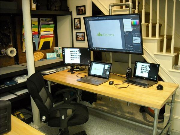 Dual Pole Mounted Monitor Desk