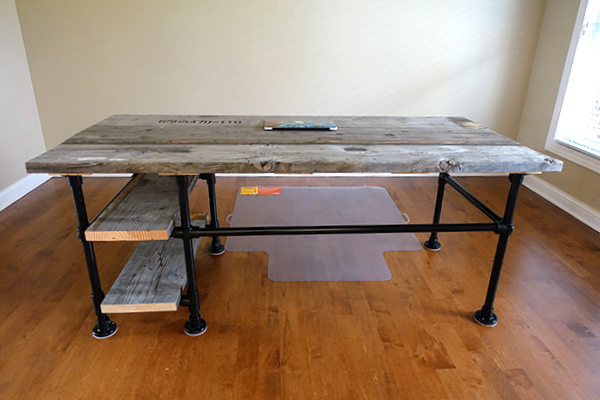 Reclaimed Wood Pipe Desk With Side Shelves Week