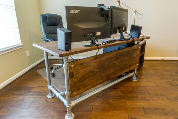 Wood Panelled Industrial Tube Desk