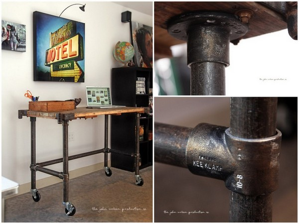 John Urban's Rolling Pipe Table with Antiqued Metal Effect