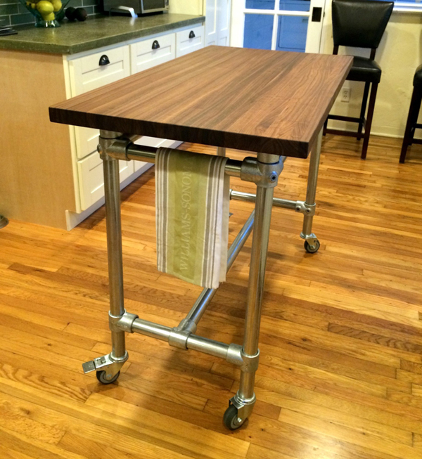 Butcher Block Rolling Kitchen Island Helps You Entertain Your Guests