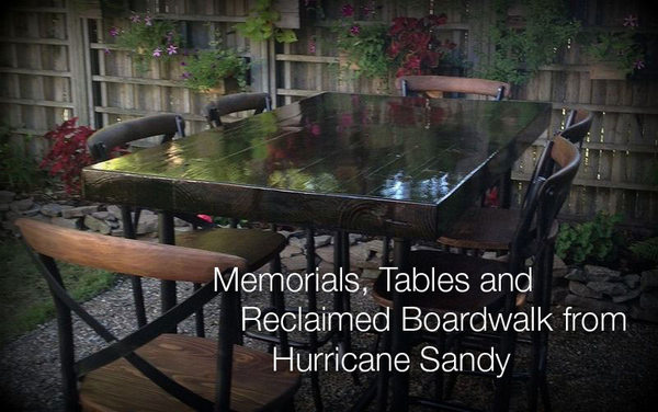 Memorials, Tables and Reclaimed Boardwalk from Huricane Sandy