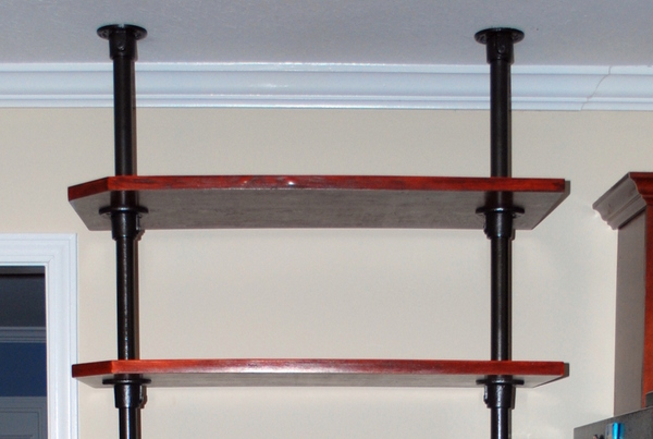 Ceiling Pole Mounted Kitchen Shelving