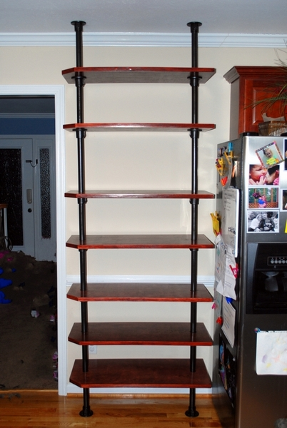 Floor to Ceiling Pole Mounted Kitchen Shelving