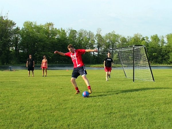 Portable Steel Soccer Goal - Playing