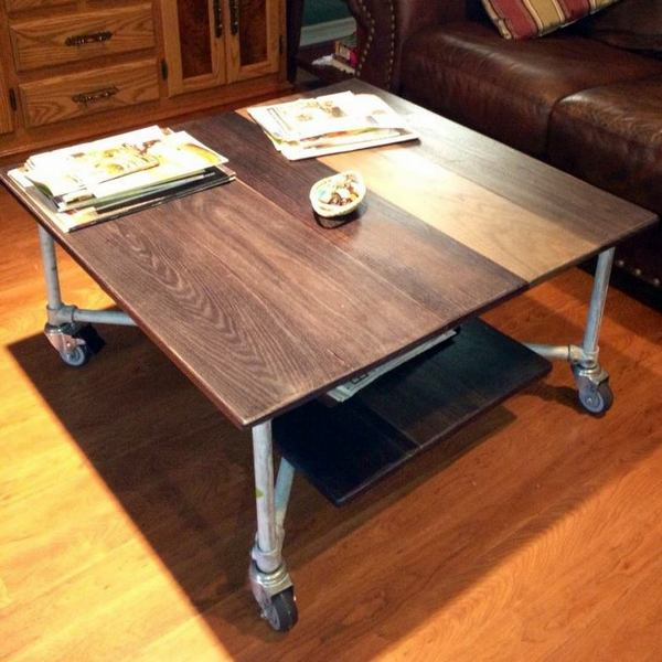 Rolling Coffee Table With Storage: Aged Metal And Oak Board Rolling Coffee Table
