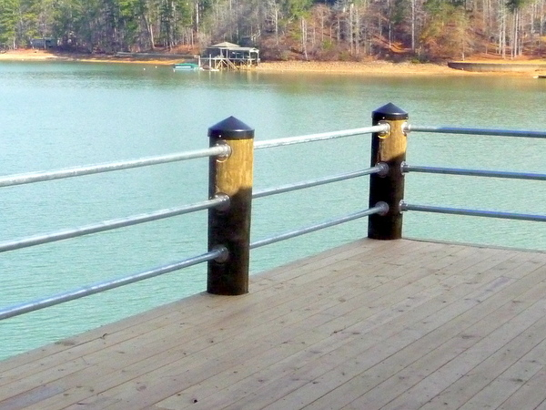 Wooden Post Railing - Boat House