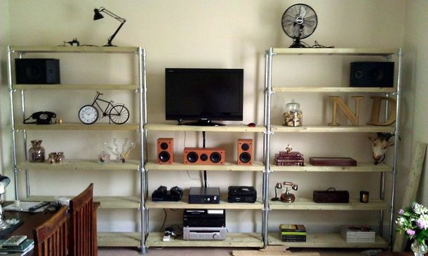 Entertainment Center with Book Shelves