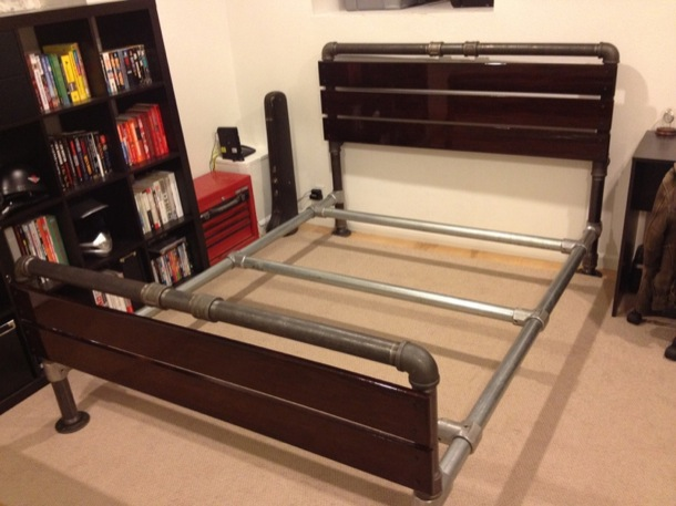 Staying truer to the original industrial form, this grunge pipe bed ...