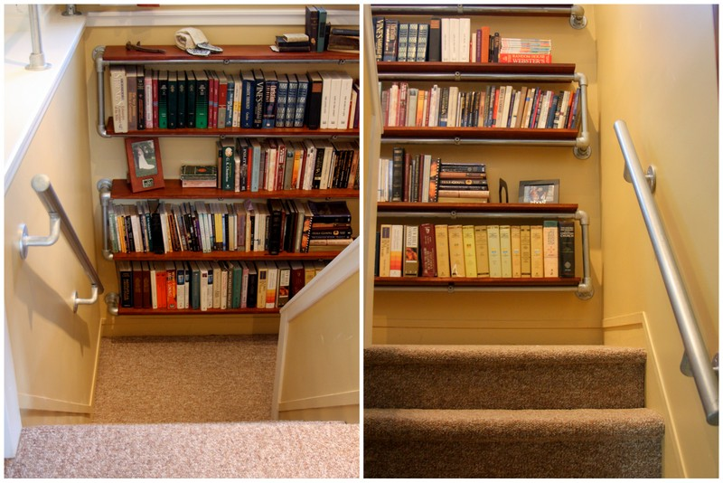 Interior industrial pipe handrail simplified building - What did the wall say to the bookcase ...