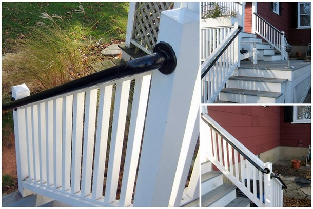 Easy to install outdoor stair railing simplified building porch mounted stair railing solutioingenieria Images