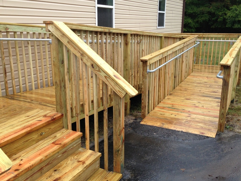 How to add ada railing to a wooden access ramp for Handicap stairs plans