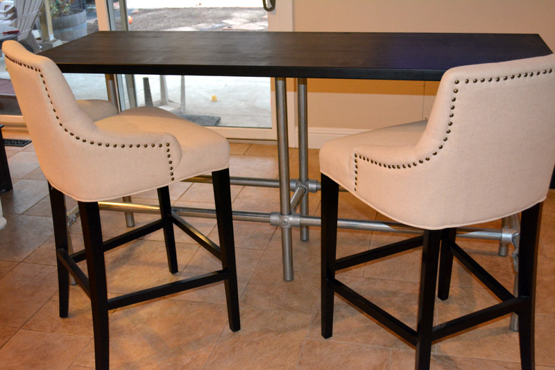 diy counter height table with pipe legs. Black Bedroom Furniture Sets. Home Design Ideas