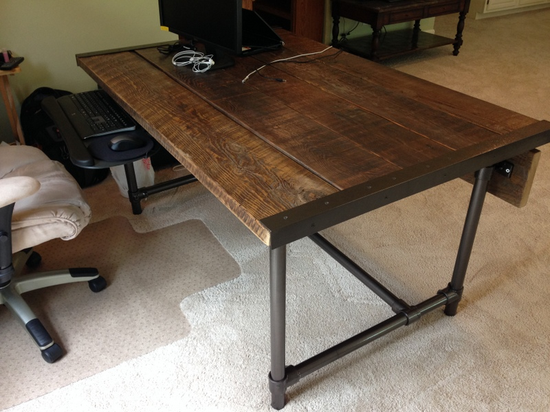 Reclaimed Wood Coffee Table Industrial Galvanized Pipe Reclaimed  Easy to Build Barn Wood Desk [Desk Week]