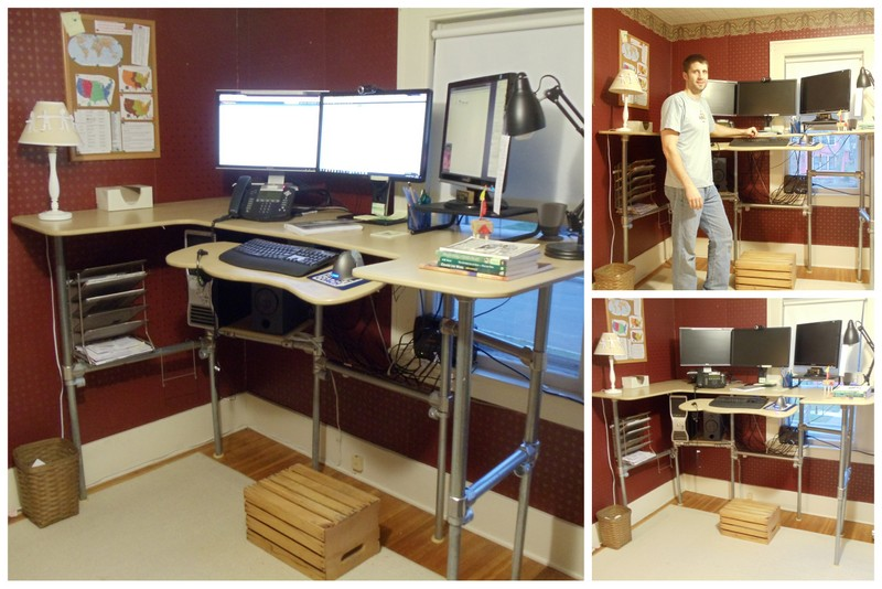 diy ergonomic computer desk converted to standing desk - Standing Computer Desk