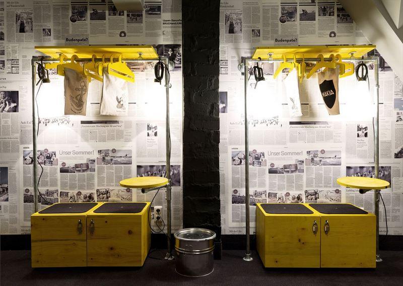 industrial pipe furniture featured in german hostel. Black Bedroom Furniture Sets. Home Design Ideas