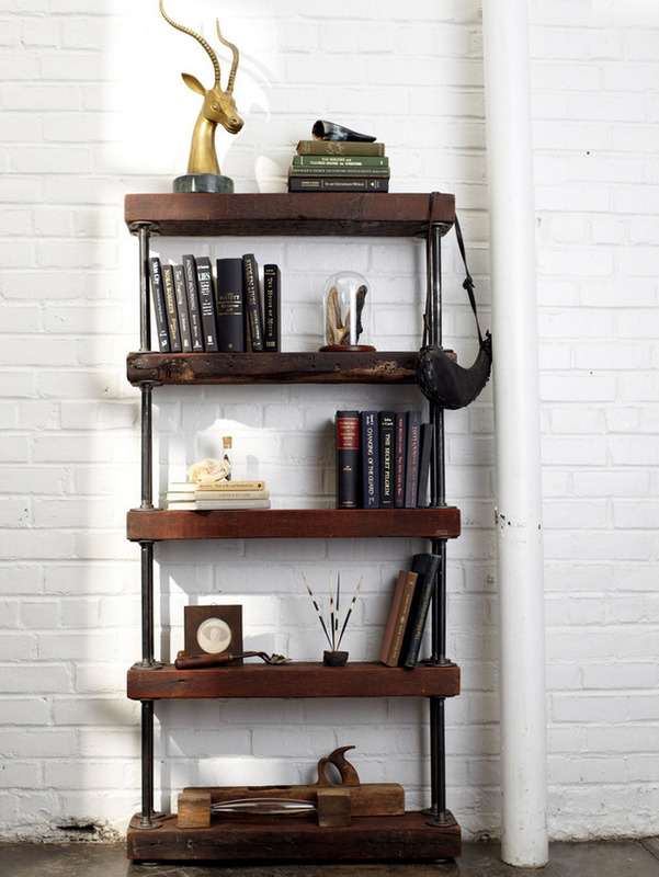 with this stunning DIY industrial shelving unit using reclaimed wood ...