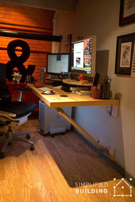Wall mounted desks great for small spaces simplified for Build your own wall mounted desk