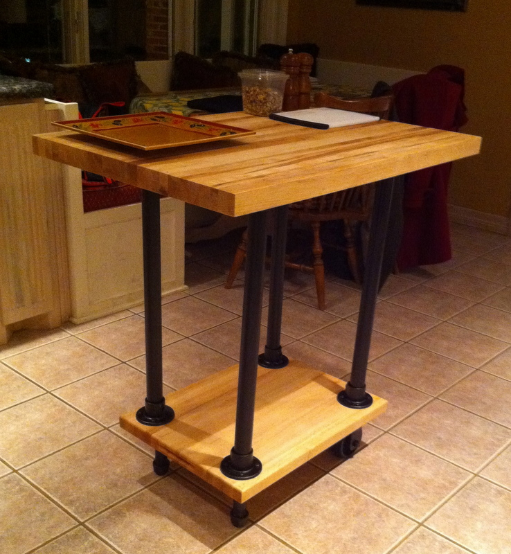 DIY Movable Butcher Block Kitchen Island/Food Cart