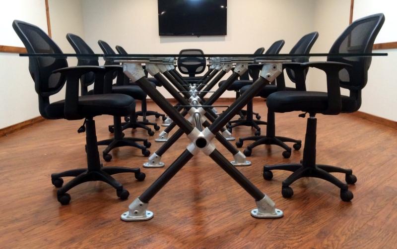 Diy glass meeting table blog for Plumbing pipe desk plans