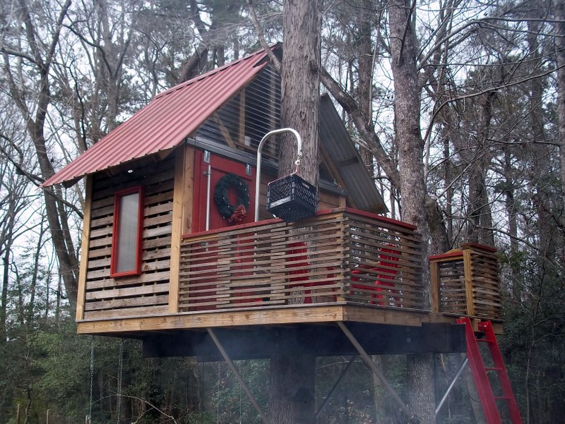 tree house Shown below, they are used to support the base of the tree