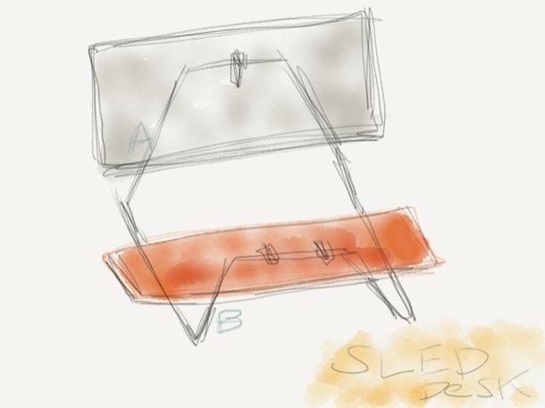 雪橇桌设计草图