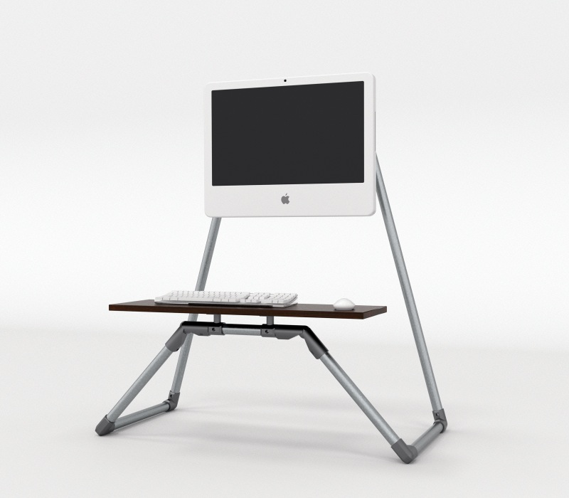 Desktop Stand-Up Desk with Integrated Monitor Stand